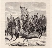 Magyar polgári bandérium , metszet 1866, 19 x 20 cm, Magyarország, fametszet, katona, lovas