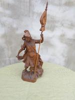 Jelzett Szent Flórián  faragott fa szobor