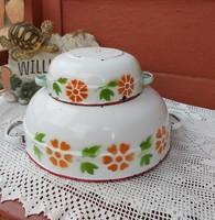 Bonyhádi  virágos, szegfűs tálak , tál Nosztalgia darabok, paraszti falusi dekoráció