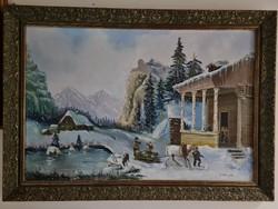 Téli tájkép: játszadozó gyerekek a hóban