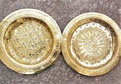 Kézműves marokkói sárga réz fali tányér párban