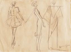 Gyenes Gitta (1888-1960): Art deco ruhák és kalapok - kétoldalas rajz a művész vázlatfüzetéből