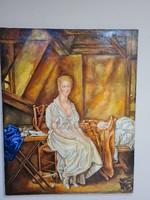 Női portré - olaj vászon festmény