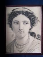 Osztrák művész 1830 körül : Hölgy gyöngysoros nyakékkel  litográfia, papír, 18 x 24 cm