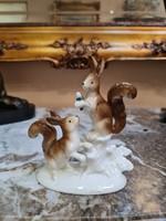 GDR német Lippelsdorf porcelán mókus pár