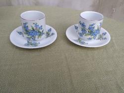 Antik Zsolnay nefelejcs virágos 2 db kávés csésze