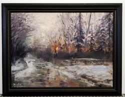 Bíró Konrád - Téli naplemente a kilátónál ( 30x40, olaj, kerettel )