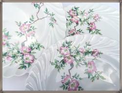 Limoges vadrózsa mintás porcelán kistányér készlet