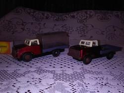 Retro lendkerekes fém játék autó, teherautó - két darab együtt