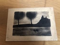 Régi rajzos képeslap - 30-as évekbeli