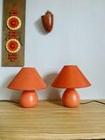 Retro,vintage,narancssárga kerámia,szövet ernyőjű éjjeli lámpák párban