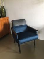 Mid century felújított fotel. Bőr és bársony