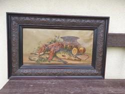 Antik minőségi fa keretben olaj festmény vásznon, festmény 34x64  kerettel 54x84 cm