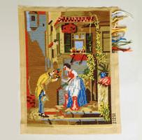 Régi, gyönyörűen kivarrt gobelin kép 35 x 45 cm