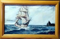 Vitorlás a tengeren - jelzett, gyönyörű festmény eredeti keretében