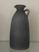 Retro kerámia váza acélszürke színben, jelzett