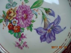 KARLSBAD CARL KNOLL monogrammal,kézzel festett virág mintás,ezüst klasszikus szegély mintás tányér