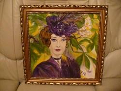Szépséges női portré olajfestmény