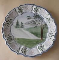 Cakkos kerámia tányér, tájképpel