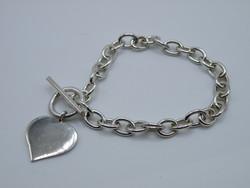 KK1238 T bar kapcsos ezüst karlánc fémjelzett 925 szív medál