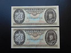2 darab 50 forint 1983 Sorszámkövető UNC ! 01