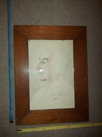 1954-es portré festmény, akvarell, szignós, méret jelezve!