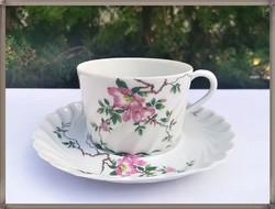 Limoges vadrózsa mintás porcelán csésze szett