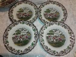 Angol porcelán,Myotts Staffordshire, lovas jelenetes mély tányér......fajansz...