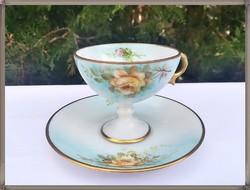 Gyűjtői kézzel festett rózsa mintás francia Limoges porcelán csésze szett