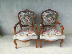 Gyönyörű Goblein jelenetes Neobarokk Karfás székek párban.