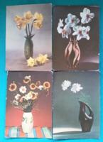 Virág vázában,retro képeslapok,1963 - 64