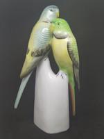 HOLLÓHÁZI papagáj pár porcelán, hibátlan, jelzett