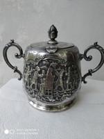 Antik perzsa ezüst cukortartó (sugar bowl Isfahan) /84 zolotnik=875/
