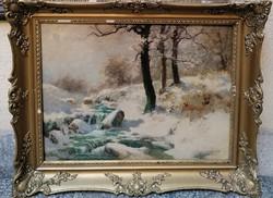 Neogrády Antal (1861-1942) Téli erdő  patakkal