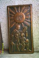 Old huge size 91 cm bronze sculpture mural