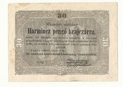 1849 es 30 pengő krajczárra Kossuth bankó papírpénz bankjegy sor oz g 1848 szabadságharc pénze