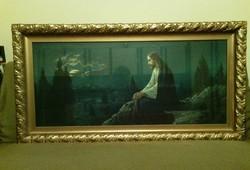 Szentkép,nagyméretű, aranyozott keretben.1936 -ból reprodukció üveg alatt szépen megörzött .