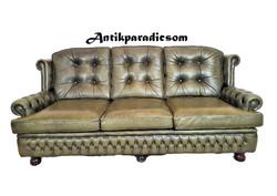 A336 Gyönyörű eredeti chesterfield bőr kanapé