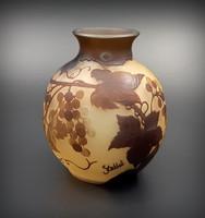 Többrétegű egyedi üveg váza, Gallé jelzéssel