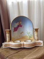 Régi Villeroy & Boch kézzel festett porcelán mécses és gyertyatartó oltár