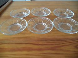 6 db.üveg tányérka, csészealj