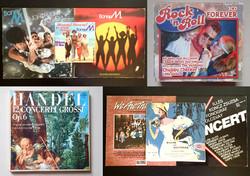 Régi retró 13 db zenei bakelit lemez kislemez nagylemez: klasszikus, Boney M, Csárdáskirálynő stb.