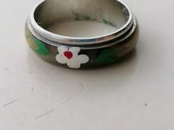 Tűzzománcos kezzelfestett forgóbetétes bizsu karikagyűrű