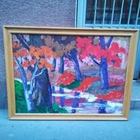 Bartos Endre (1930-2006) Őszi erdőbelső festmény , legszebb színekkel művei közül