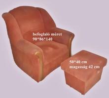 Ülőbútor garnitúra (kinyitható kanapé, egy fotel, egy puff)