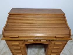 RITKASÁG!!! Gyönyörű antik világos színű redőnyös v. rolós íróasztal rejtek központi zárral
