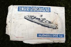 Tengeri Gyorsnaszád Hajómodell építő 1.sz. 40x27 cm régi játék Ezermester és Űttörőbolt Vállalat