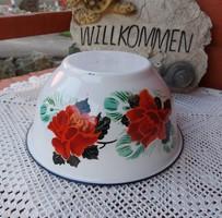 Gyönyörű 23 cm-es  virágos rózsás  zománcos tál Nosztalgia darab paraszti falusi d