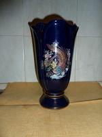 Aranyozással díszített kobalt kék porcelán váza 28 cm mags