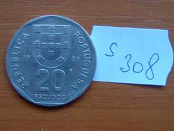 PORTUGÁLIA 20 ESCUDOS 1986 incm (Imprensa Nacional Casa da Moeda), 75% réz, 25% nikkel  S308